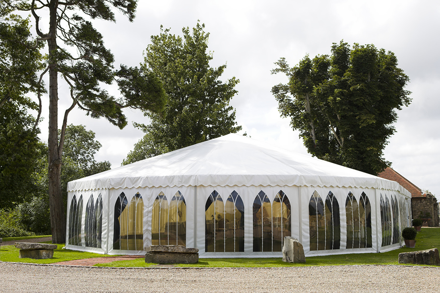 The marquee seats a maximum of 200 guests for a three course meal and up to 300 for an evening reception.